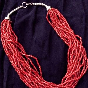 Jewelry - Multi Strand Red Seed Bead Necklace Vintage Boho